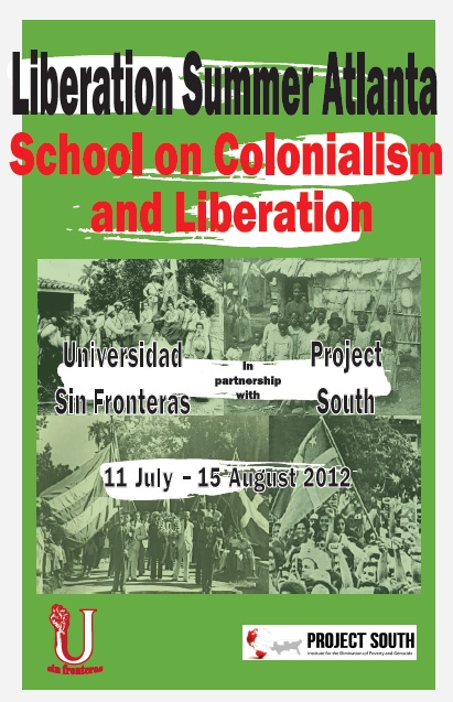 Poster – 2012 Liberation Summer in Atlanta – School on Colonialism and Liberation