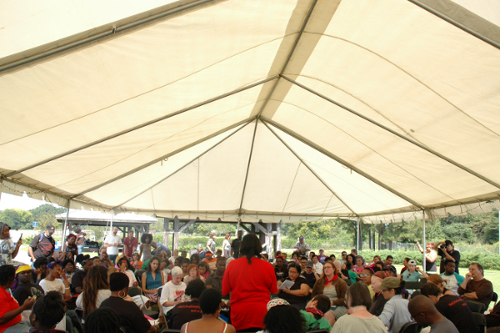 Community leaders gathered during the Southern Movement Assembly in Lowndes County, Alabama on September 22, 2012.